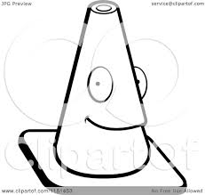 Cartoon Clipart A Black And White Traffic Cone Character Vector Outlined Coloring Page by Cory Thoman