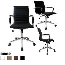 2xhome - Black Modern Mid Back Ribbed PU Leather Chair With Wheels Arms Arm  Rest W/Tilt Adjustable Seat Designer Boss Executive Office Chair Work Task  ... Buy Office Chair Ea 119 Style Premium Leather Wheels China High Back Emes Swivel Chairs With Yaheetech White Desk Wheelsarmes Modern Pu Midback Adjustable Home Computer Executive On 360 Barton Ribbed W Thonet S 845 Drw Wheels Bonded 393ec3 Star Afwcom Ikea Office Chair White In Bradford West Yorkshire Gumtree 2 Adjustable Ribbed White Faux Leather Office Chairs With Wheels Eames Style Angel Ldon Against A Carpet Charming Black Genuine Arms Details About Classic Without Welsleather Wheelsexecutive