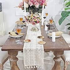 décoco 9 5 x 71 beige makramee tischläufer rechteckige häkelspitze elegante hohle mesh tischdecke für rustikale boho hochzeit dekor braut baby