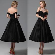 2015 Vintage Black Wedding Dresses A Line Sweetheart Off Shoulder Tea Length Bridal Gowns Custom Made For Brides Prom Gown