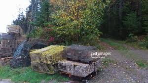 Decorative Lobster Trap Uk lobster trap composition decoration near driveway stock photo