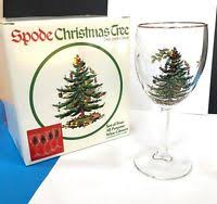 Spode Christmas Tree Glasses by 2 Spode Christmas Tree 12 Oz Wine Glasses Gold Rim Spode Etched