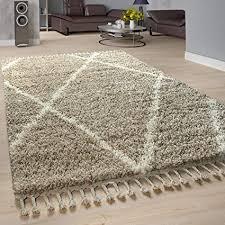 paco home shaggy teppich wohnzimmer hochflor rauten muster skandi design grösse 120x170 cm farbe beige creme