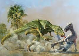 Tyrannosaurus And Edmontosaurus By Ely Kish 1976