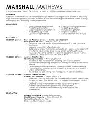 Business Development Resume Examples Assistant Director Sample Objective