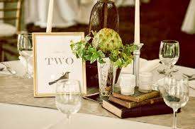 Table Dinner Of Vintage Wedding Centerpieces With Books