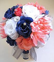 17 Pcs Wedding Silk Flower Bouquet Bridal Package Coral Navy White Silver Centerpiece Decorations Rosesanddreams