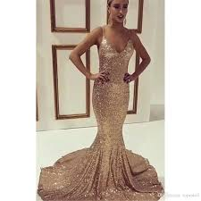 cheap long prom dresses rose gold sequins spaghetti straps