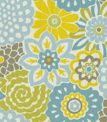 Home Decor Print Fabric Waverly Button Blooms Spa Hi Res