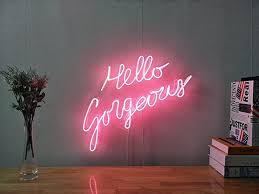 hello gorgeous real glass neon sign for bedroom garage
