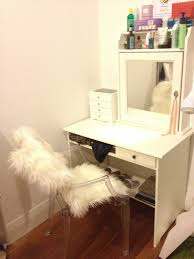 Furniture White Wooden Vanity With Drawer And Shelf Combined Small Drawers Mirror Beside