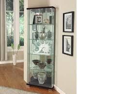 corner glass display cabinet oak effect naindien