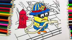 Coloring Pages Minion Fireman