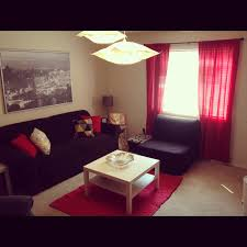 living room living room curtain ideas in red theme with black
