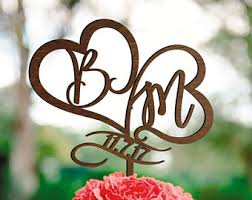 Wedding Cake Topper Two Letters Heart B Letter M Golden