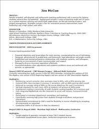 Sample Teaching Resume For Jim McCue