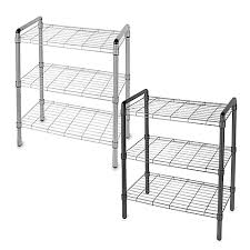 Bed Bath And Beyond Glass Bathroom Shelves by 3 Tier Adjustable Storage Rack Bed Bath U0026 Beyond
