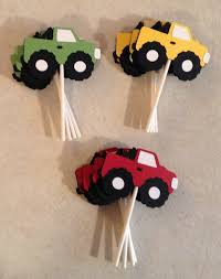 Monster Truck Cupcake Toppers - Party Supplies, Cake Decorations ... Birthdayexpress Monster Jam Party Supplies Pinata Kit 30off Truck Favors High For 8 Diy Decorations Luxury Braesdcom Amazoncom Printed Cake Decoration Candle Mudslinger Childrens Wall Poster Blaze And The Machines Monsters Amazmonster The Birthday Australia Its Fun 4 Me 5th Happy Lunch Napkins Perfect X Trucks Plates Boys Truckshaped Centerpieces Orientaltradingcom Justins