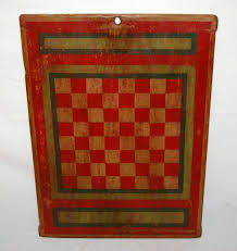 Painted Game Board Checkers Chess On Old Cutting Measures 24 X