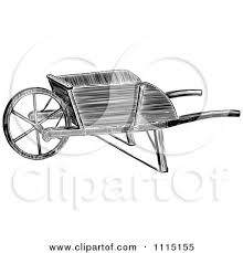 Clipart Vintage Black And White Wooden Wheelbarrow Royalty Free Vector Illustration by Prawny Vintage