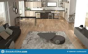 penthouse minimalistisches kã chendesign wohnzimmer mit