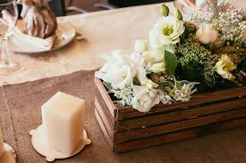 Rustic Wedding Decorations Wooden Box And Candle With Bouquet O