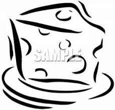 Black and White Slice of Swiss Cheese Clipart