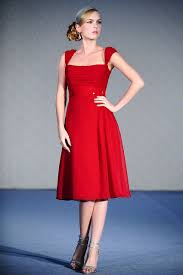 buy tailor made chiffon square neckline knee length red bridesmaid