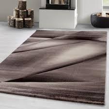 designer teppich kurzflor wohnzimmerteppich linien wellen gemustert braun