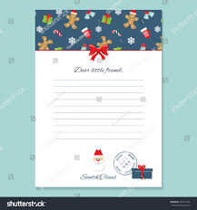 Christmas Letter Santa Claus Template Pattern Stock Vector
