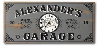 Personalized Garage Clock Pub sign Vintage Wood Plank Sign