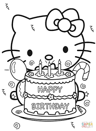Click The Happy Birthday Hello Kitty Coloring Pages To View Printable
