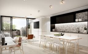 Open Concept Apartment Interiors For Inspiration Pictures Interior Designs Kitchen And Living Room Of Monochrome Design