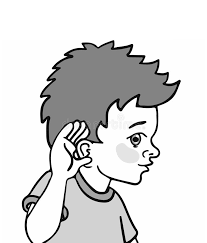 Illustration A Kid Demonstrating His Sense Hearing Stock