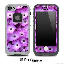 Purple Flowers Skin for the iPhone 5 or 4 4s LifeProof Case