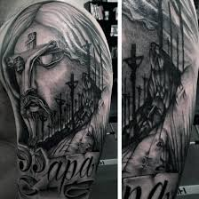 Man With Half Sleeve Christian Tattoos
