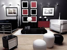living room contemporary red black and white living room
