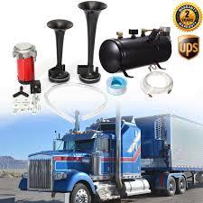 100 Truck Air Horn Kit Car Black 4Trumpet 150DB 150PSI 12V