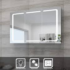 sonni led spiegelschrank 105 x 65 x 13 cm badezimmer spiegel wandschrank bad schrank mit beleuchtung und steckdose