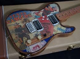 Inserted Into This Guitars Popular Body Is A Custom Texas Ranger Collage
