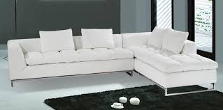 Elegant White Leather Sectional Chaise Modern Leather Sectional