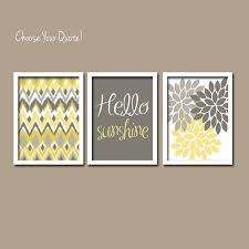 yellow grey hello sunshine ikat inspired flower burst basement
