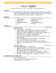 Resume Objective Examples For Plumbers