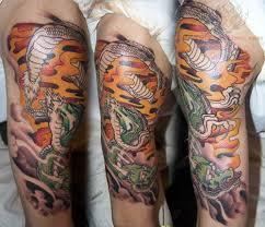 Dragon Sleeve Tattoo On Bicep
