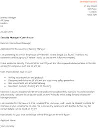 Security Manager Cover Letter Example