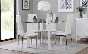 Nova Square White Glass Dining Table
