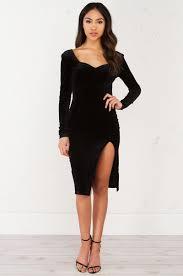 long sleeve velvet dress in wine and black