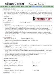 resume description of preschool preschool resume sles 2017
