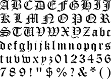 Modern Interpretation Of Blackletter Script In The Form Font Old English Which Includes Several Anachronistic Glyphs Such As Arabic Numerals
