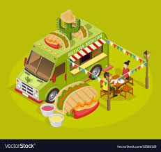 Mexican Food Truck Isometric Advertisement Poster Vector Image